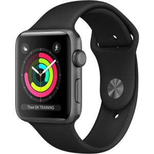 Apple Watch Series 3 42mm GPS Space Gray Aluminum Case with Black Sport Band (MQL12) б.у.
