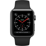 Apple Watch Series 3 42mm GPS+LTE Space Gray Aluminum Case with Black Sport Band (MQK22)