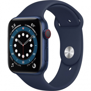 Apple Watch Series 6 GPS, 44mm Blue Aluminium Case with Deep Navy Sport Band (M00J3)