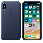Чехол Apple iPhone Xs - Leather Case - Midnight Blue (MRWN2)