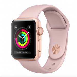 Apple Watch Series 3 GPS + Cellular 38mm Gold Aluminum Case with Pink Sand Sport Band (MQJQ2)  б.у