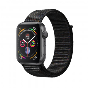 Apple Watch Series 4 44mm GPS Space Gray Aluminum Case with Black Sport Loop (MU6E2)