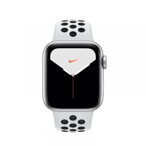 Apple Watch Series 5 Nike 44mm GPS Silver Aluminum Case with Pure Platinum/Black Nike Sport Band (MX3V2)