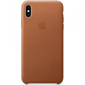 Кожаный чехол Apple Leather Case iPhone XS Max Saddle Brown copi(A)