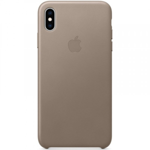 Кожаный чехол Apple Leather Case iPhone XS Max Taupe copi(A)