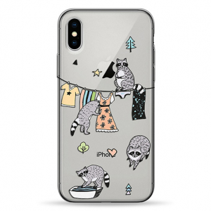 Чехол Pump Transperency Case for iPhone X/XS Raccoon Family