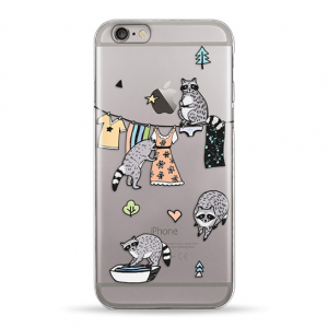 Чехол Pump Transperency Case for iPhone 6/6S Raccoon Family