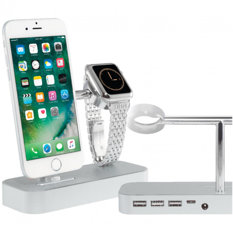 Док-станция Coteetci Base Hub B18 для iPhone, Apple Watch с 3 USB, Type-C серебристая